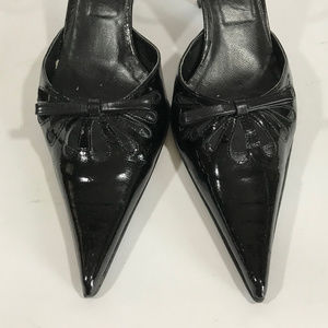 Barbara Bucci Pointy Toe Patent L Ankle Strap Heel